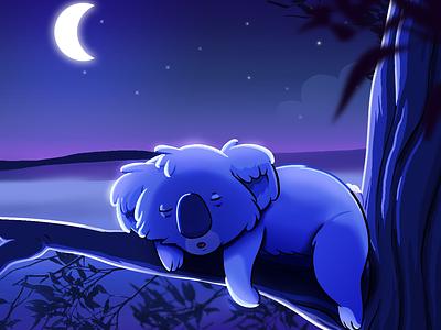 Koala Offline twitch stream branding clip studio paint cartoon illustration photoshop