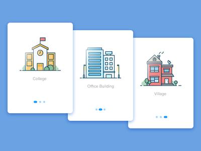 3 buildings icon