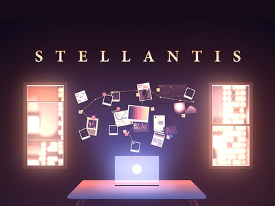 Stellantis / opening shot night futuristic future pinboard shadow light glow light pollution