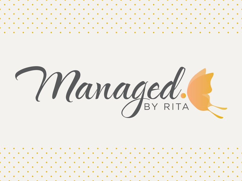 Managed By Rita logo logotype typography script social media butterfly logo
