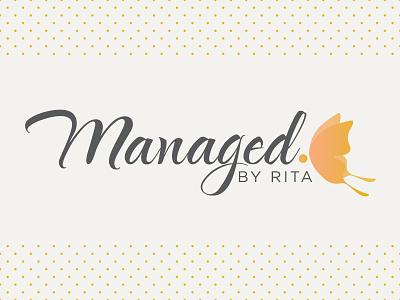 Managed By Rita logo logotype typography script social media butterfly logo