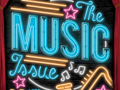 Music Issue stage neon lights music cover design publication orlando magazine editorial orlando layout magazine typography