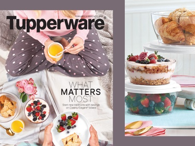 What Matters Most pajamas bed brunch easter breakfast party celebration cooking meal prep food shopping retail brochure publication graphic design tupperware art direction layout catalog