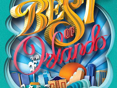 Best of Orlando 2016 orlando magazine cover illustration layered collage cut paper paper best of orlando