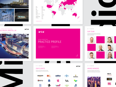 MGS | Practice Profile creds doc keynote profile pitch document branding pink colour print logo graphics brand