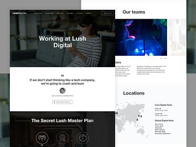 Lush | Digital Careers Hub digital cosmetics one page hub careers ui design handmade lush
