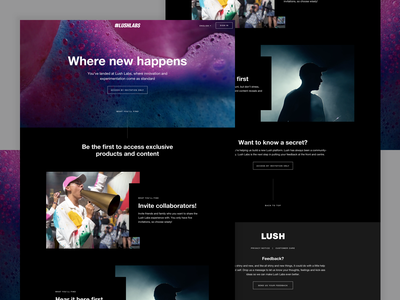 Lush | Labs Landing Page experiment experience labs campaign ui design web design cosmetics lush