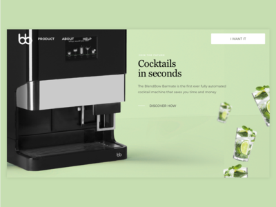 The first cocktail machine in the world - website website homepage hero machine mojito mint start up startup visual ui cocktails