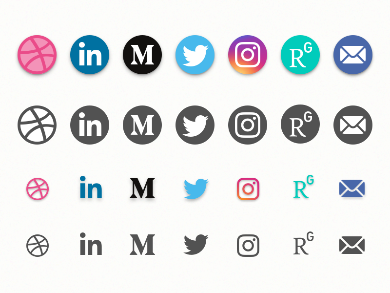 Social Media Icons Freebie (Sketch) social media vector sketch email researchgate instagram twitter medium linkedin dribbble freebie icons
