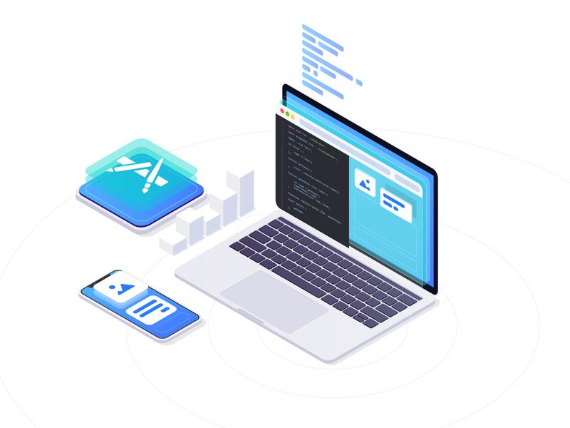 Illustration 2 clean iphone macbook app software branding illustration vector isometric development