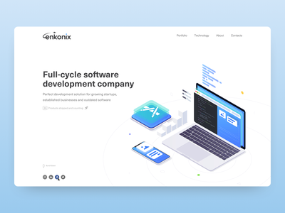 Enkonix site company app web design illustration design development software web