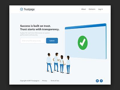 Landing Page real-time status page trust ui landing