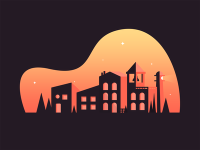 Small Town stars evening gradient vector trees buildings lighthouse