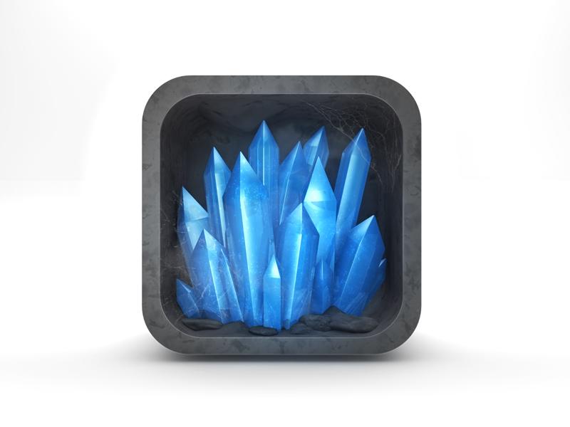 Crystal Game App Icon crystal icon app blue game ios gem