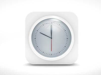 White Clock Icon Ios