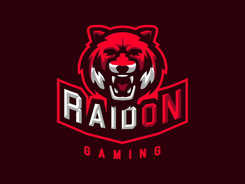 RaidOn Gaming Logo organization team aggressive tiger raid illustration mascot design logo esports gaming