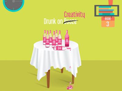 Drunk on Creativity pink modern minimal creativity new dribbble minimalistic illustrator