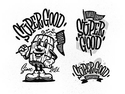 Super Good sketch barrel brewery beer illustration logo typemate lettering