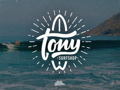 Tony Surfshop logo surfshop calligraphy typemate script cursive graphicdesign graphic type lettering identity logotype logo