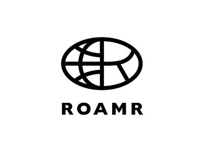 Roamr logo world apparel lettering globe logo