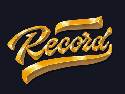 golden Record record golden gold handwritten handlettering type customtype calligraphy typography logotype logo typemate lettering
