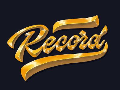 golden Record record golden gold handwritten handlettering type customtype calligraphy typography logotype logo typemate lettering