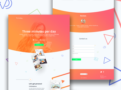 Three minutes per day - users website web development web design app fresh clean design ux ui trimiday website prototype