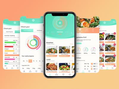 Veggierator - Cooking App nutrition user interface user experience ui ux codemaster vegetarian statistics diet app food veggie