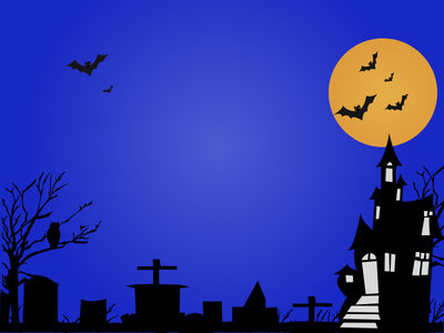 Haunted House Party Website Illustration sun blue bats night illustration house home haunted graveyards crow building apartments