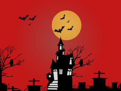 Haunted House Website sun night illustration house home haunted graveyards crow building red bats apartments