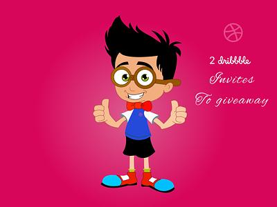 2x Dribbble Invites art sketch creative green red illustration boy bangalore character cartoon invites dribbble