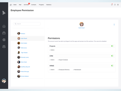 Permission page for Dashboard sas user white dashboard crm interaction bangalore interface app permission ux ui