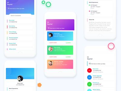 Recruitment Agent Dashboard dribbble invite profile white ux ui ios interview application sketch app