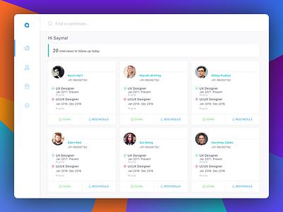 Recruitment Agent Dashboard dashboard interview app sketch application web profile management ui ux white