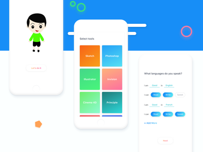 Progressive Profiling dashboard application app character sketch interview natural language ux ios profile management ui ux white