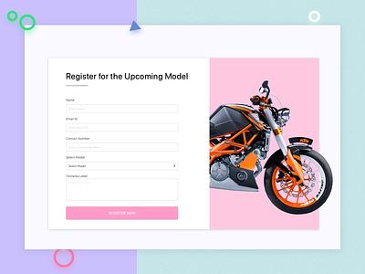 Registration Form dribbble invites website design web registration bike pink white page landing minimal