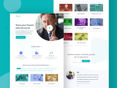 Clyver - Landing Page lean ux ui web-app mentor mentee ui ux landing page home page learning app