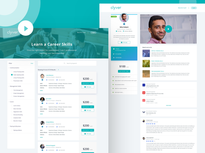Clyver - Get Personalized Expert Advice learn web-app mentor mentee app learning ui ux landing page home