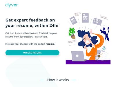 Clyver Hero Page interface website landing page landing interview resume hiring product branding design vector illustration home ux ui