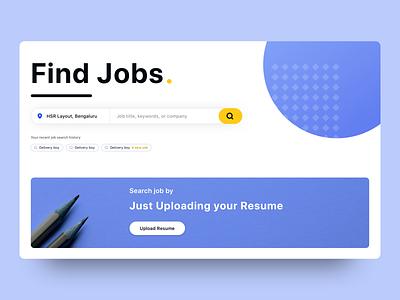 Jobs Search Site jobs in dubai jobs in india homepage jobsite jobs dashboard website branding landing illustration design white home bangalore ux ui