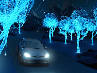 Volkswagen E-Moility - Styleframe trees illumination dark glow lowpoly night golf photoshop cinema volkswagen styleframe