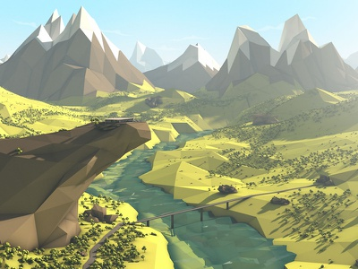 Volkswagen E-Mobility - Styleframe sunny river mountains landscape trees glow lowpoly photoshop cinema volkswagen styleframe