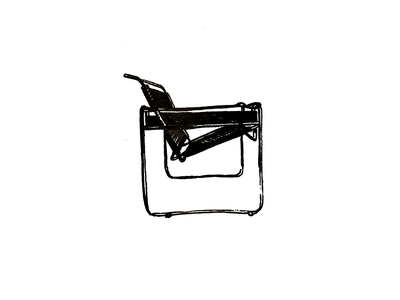 Wassily Chair mcm mid century modern mid-century mid century midcentury marcel breuer model b3 chair wassily cross hatching illustration pen and ink