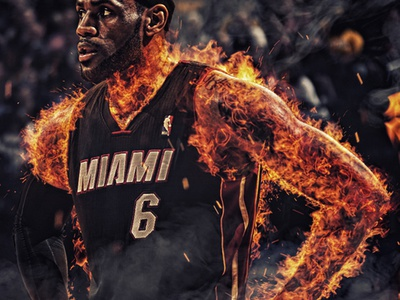 LeBron James on Fire fire lebron james nba basketball
