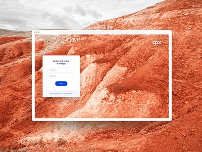 CPX Login Mood ui ui design nature climate change digital branding design simple brand design