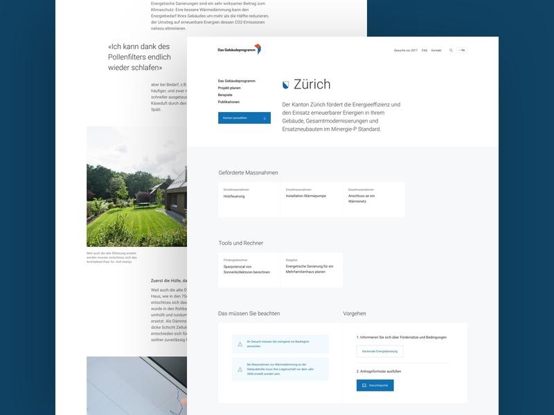 Das Gebäudeprogramm typography stroytelling switzerland renewable energy cantons detailpages design ui  ux ui