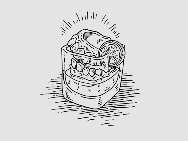 Last Words ipadpro procreate black and white simple bar cocktail drink illustration
