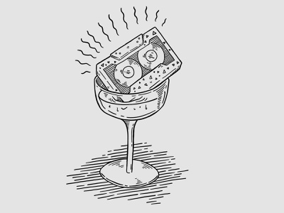 Last Dance procreate ipad pro black and white bar cocktail simple illustraion