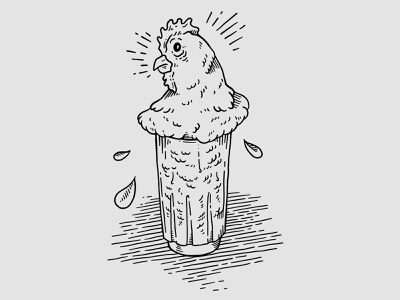 Kentucky Mule bar cocktail black and white ipad pro procreate simple illustration