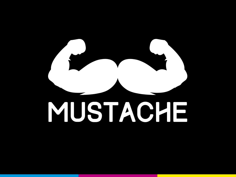 Mustache - Branding flat design big bold black arms logo branding mustache movember